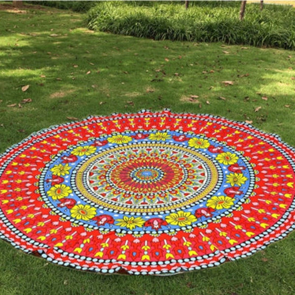 Colorful Round Printed Mandala Boho Indian Beach Blanket