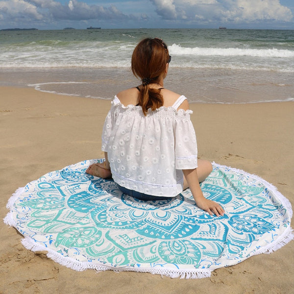 Aqua Lotus Flower Summer Round Beach Blanket with Tassel