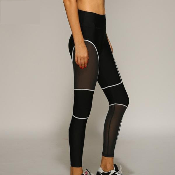 Sexy Mesh Sport Leggings With Neon Stripes