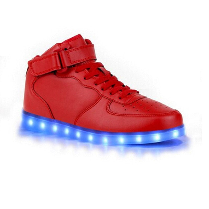 Lace-Up High Top Fashion Luminous Casual Shoes
