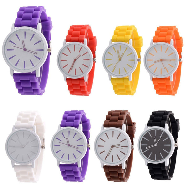 Fashion Unisex Analog Wrist Quartz Watch -  Color Silicone Rubber Band