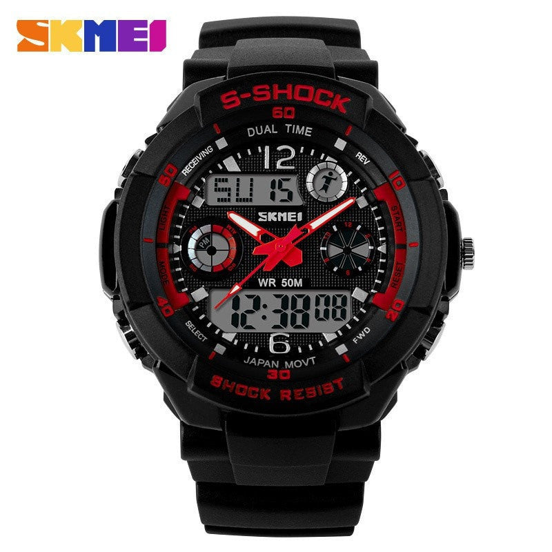 SKMEI Men Military Analog-Digital Sports Watch - Water/Shock Resistant