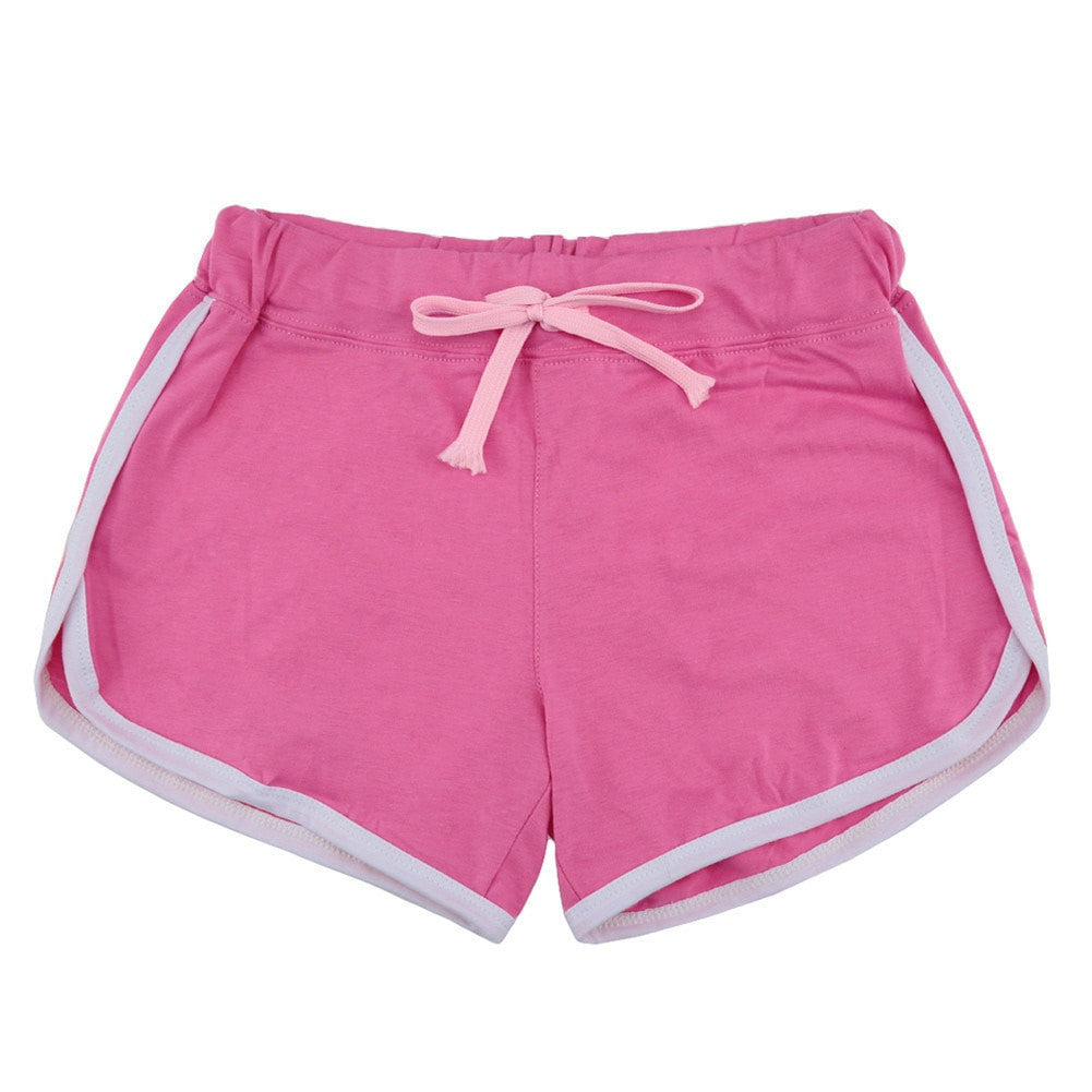 Leisure Loose Casual Running Women Cotton Sports Shorts - Contrast Binding Side Split - FitShopPro