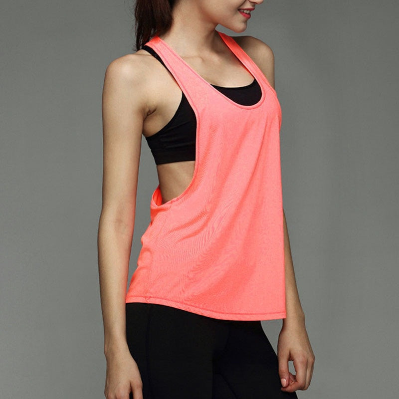 Summer Sexy Women Tank Top - Dry Quick Loose Sleeveless Vest - Gym, Fitness, Sport, Singlet for Running & Training - FitShopPro