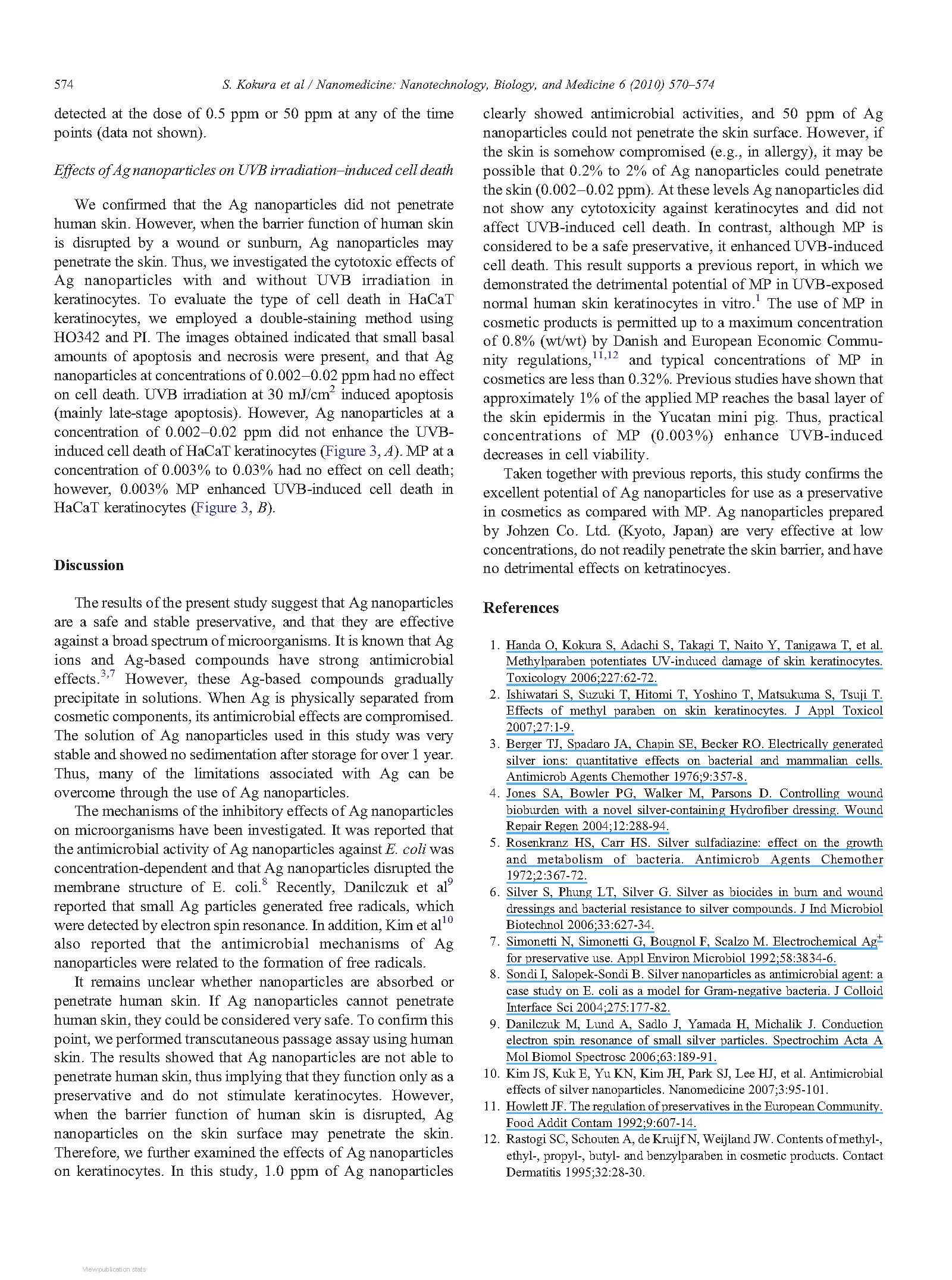 Silver nanoparticles as a safe preservative for use in cosmetics page 5