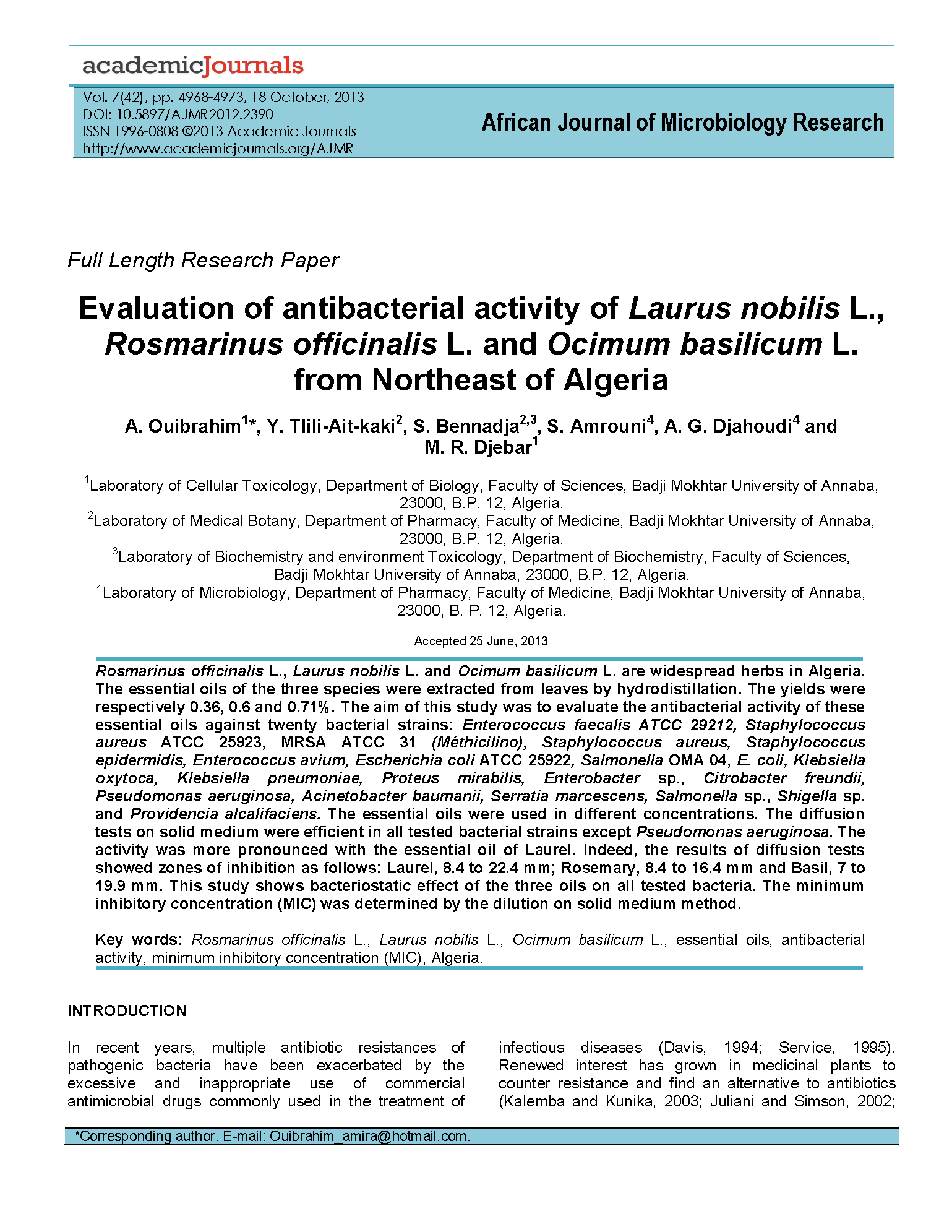 Antibacterial Activity of Laurel Berry, Rosemary, and Basil Oils page 1