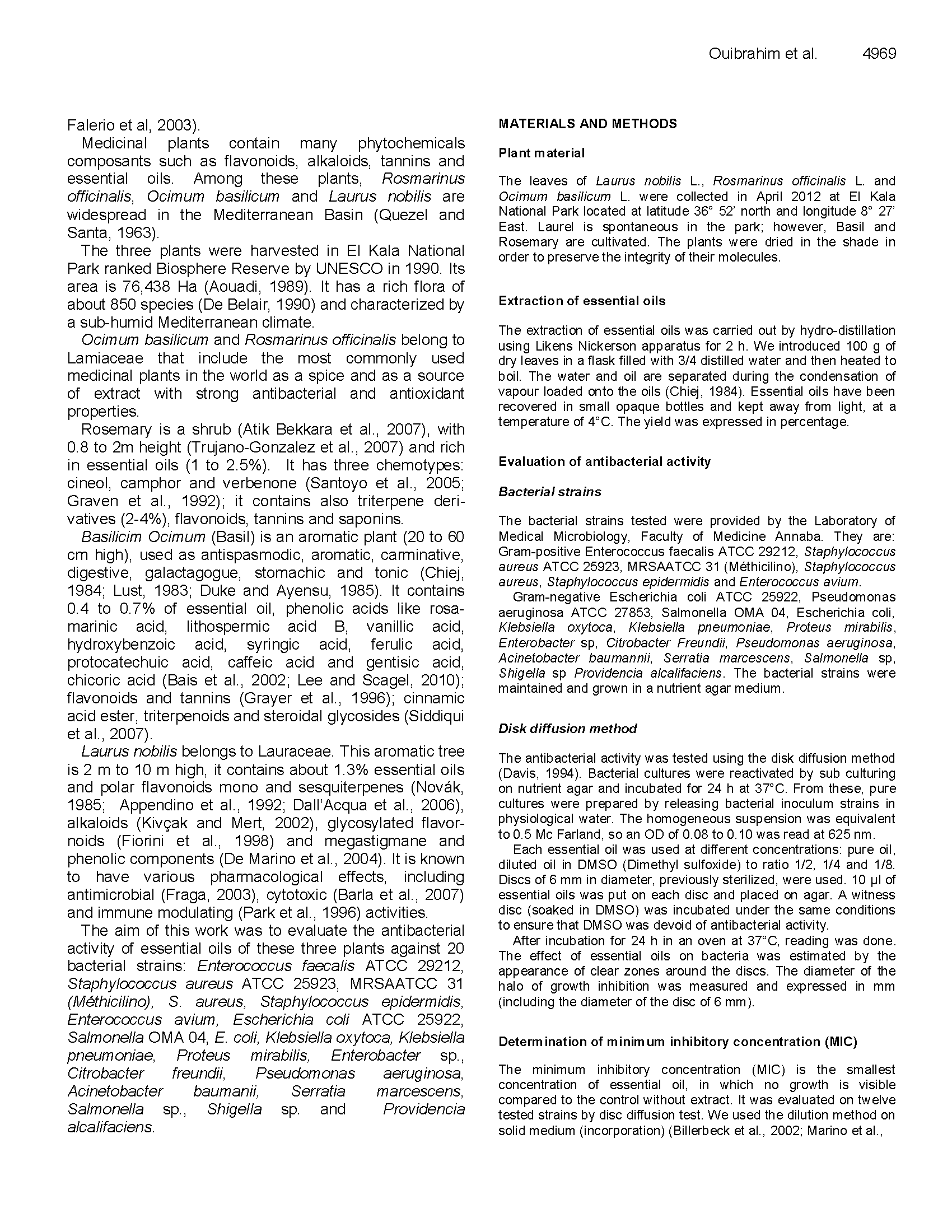 Antibacterial Activity of Laurel Berry, Rosemary, and Basil Oils page 2