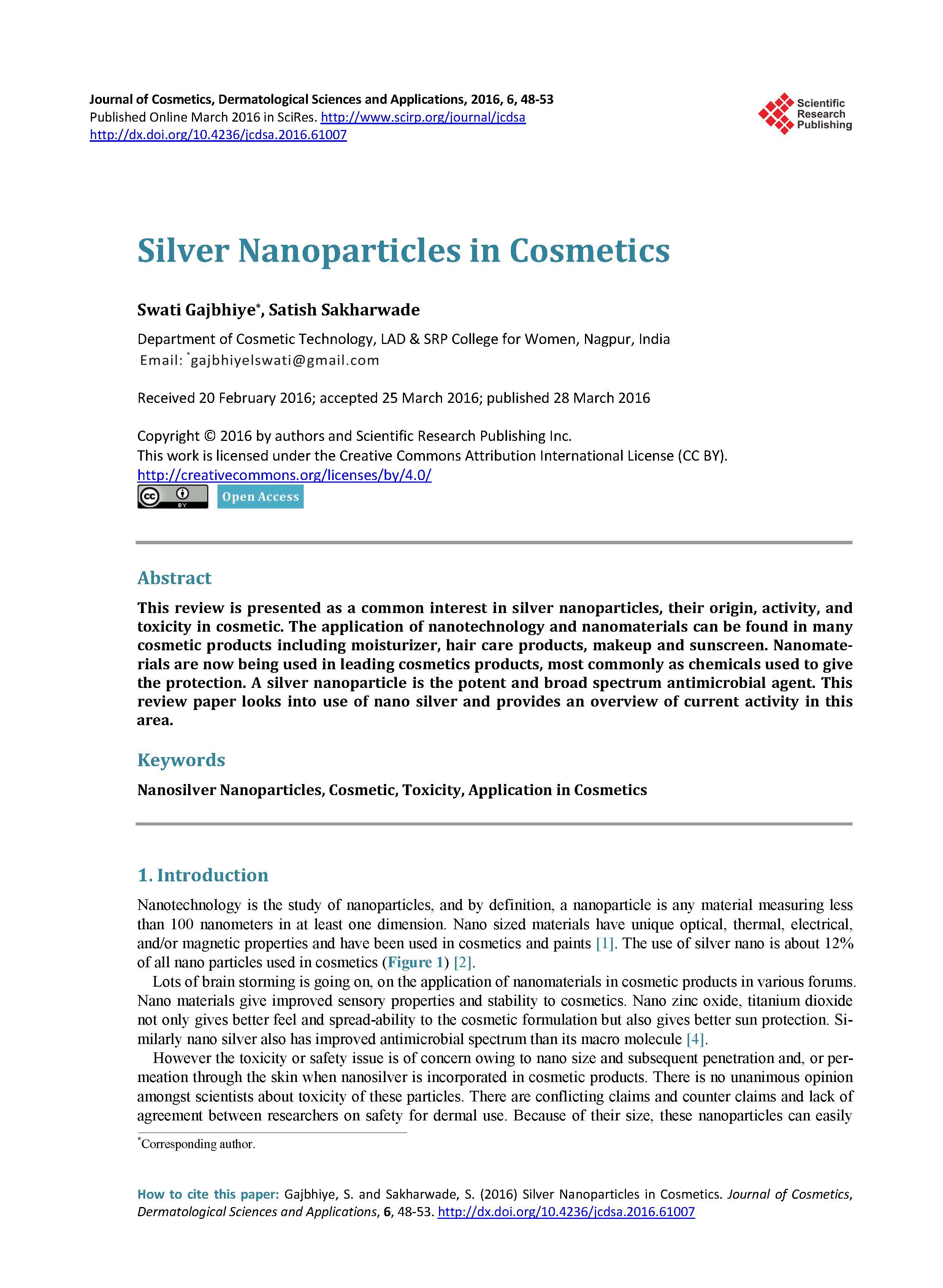 Silver Nanoparticles in Cosmetics page 1