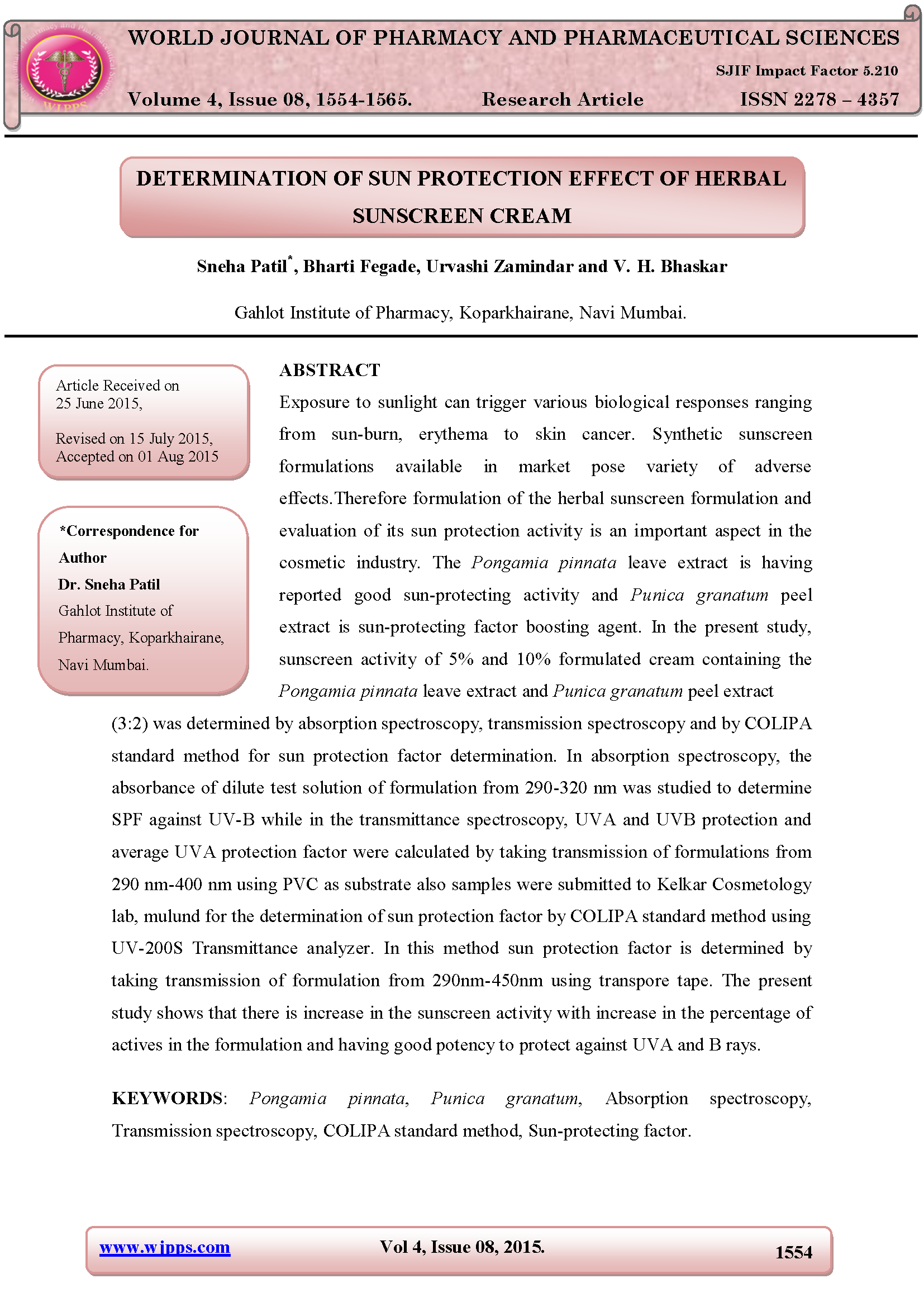 DETERMINATION OF SUN PROTECTION EFFECT OF HERBAL SUNSCREEN CREAM Page 1