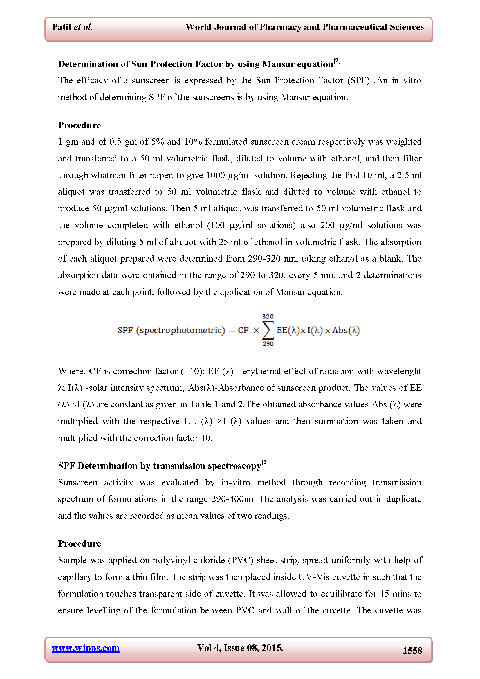 DETERMINATION OF SUN PROTECTION EFFECT OF HERBAL SUNSCREEN CREAM Page 5