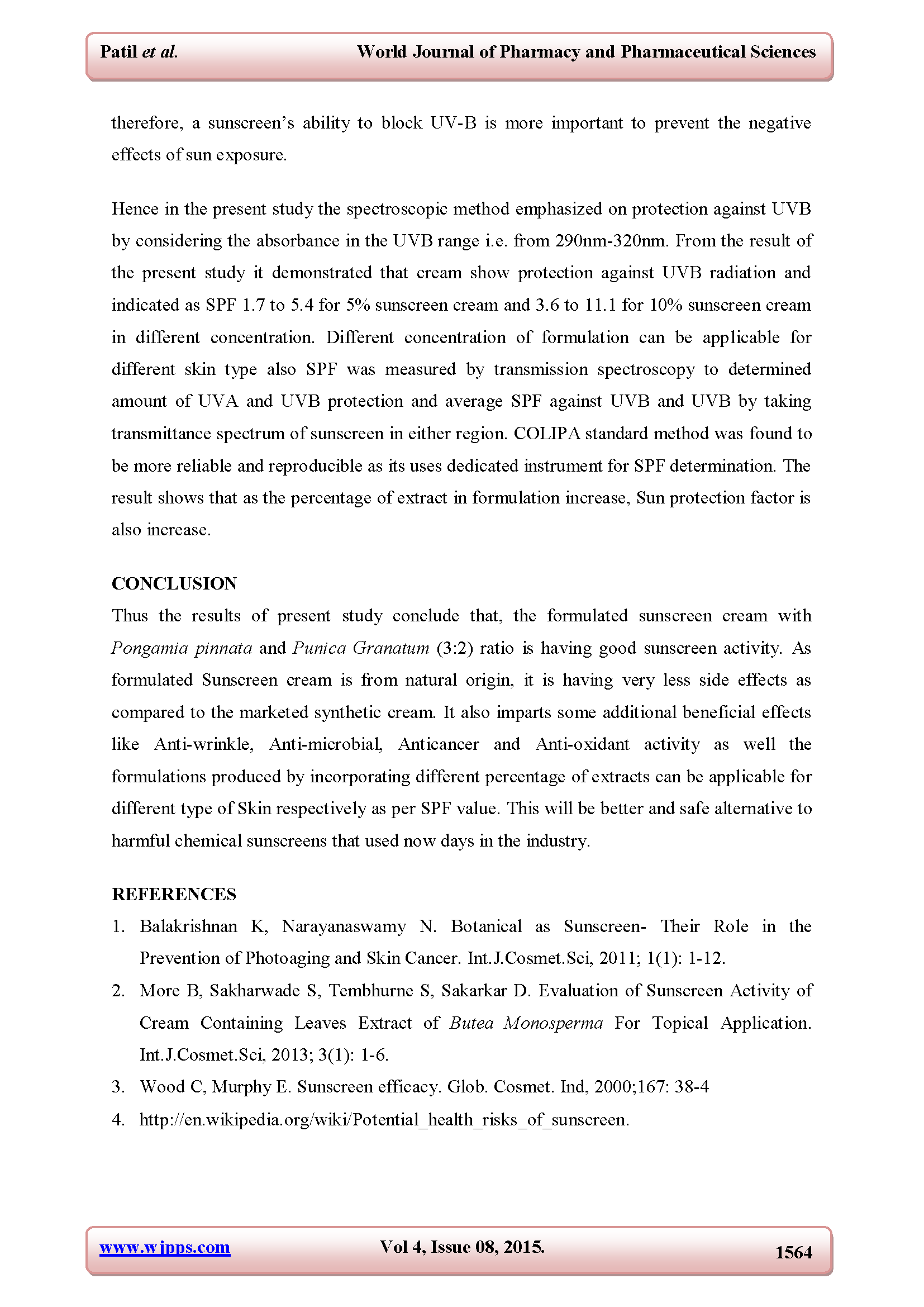 DETERMINATION OF SUN PROTECTION EFFECT OF HERBAL SUNSCREEN CREAM Page 11