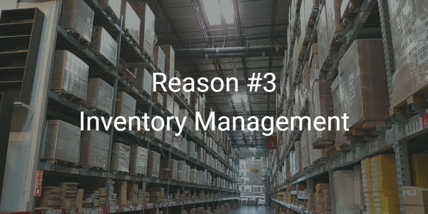 A large warehouse and shelving, to illustrate inventory management in skin care manufacturing.