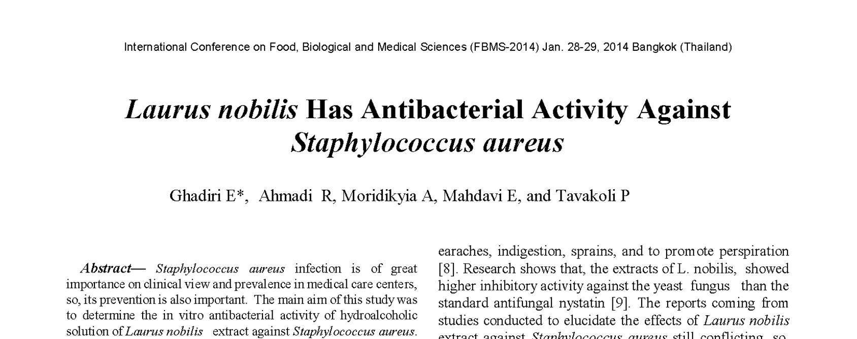 Laurus nobilis Has Antibacterial Activity Against Staphylococcus aureus thumbnail