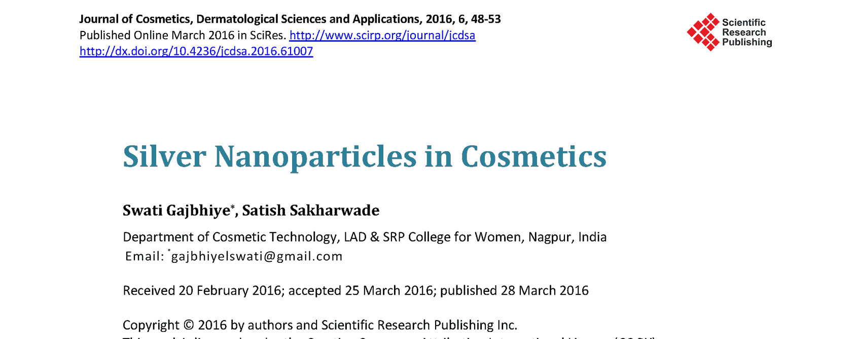 Silver Nanoparticles in Cosmetics Thumbnail