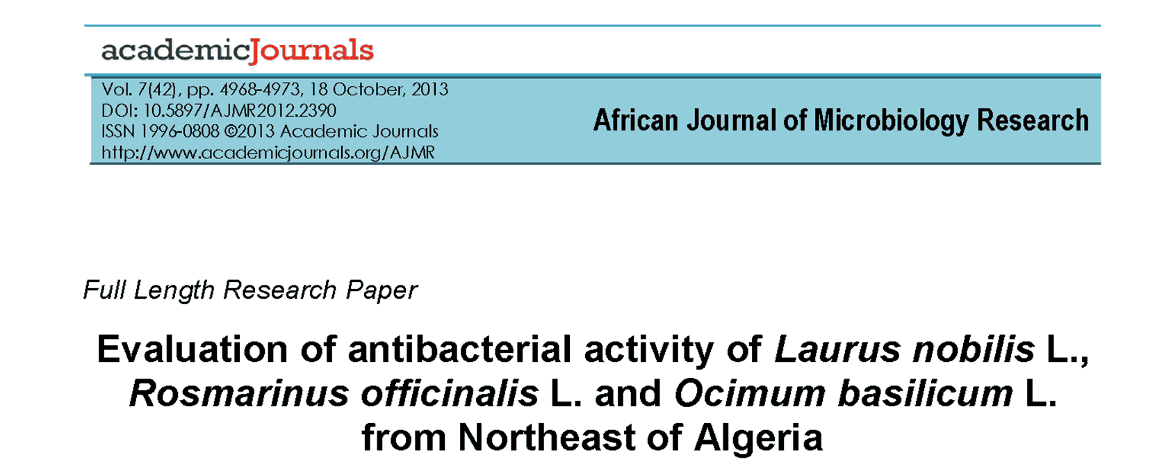 Antibacterial Activity of Laurel Berry, Rosemary, and Basil Oils thumbail