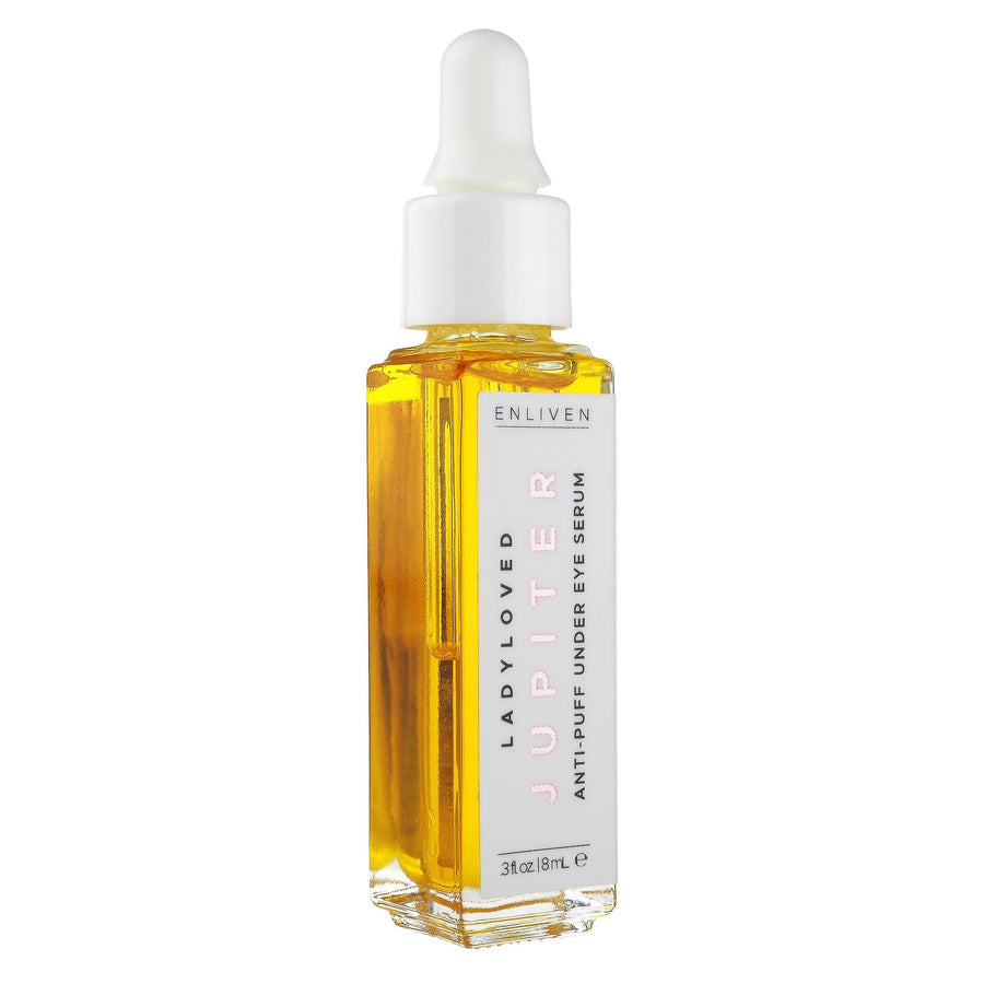 An 8 mL dropper bottle of Jupiter Enlivening Under-Eye Serum sitting upright on a white background.
