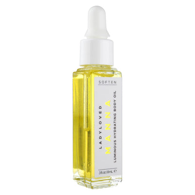 An image of an 8 mL bottle of Manna Moisturizing Body Oil sitting upright on a white background.