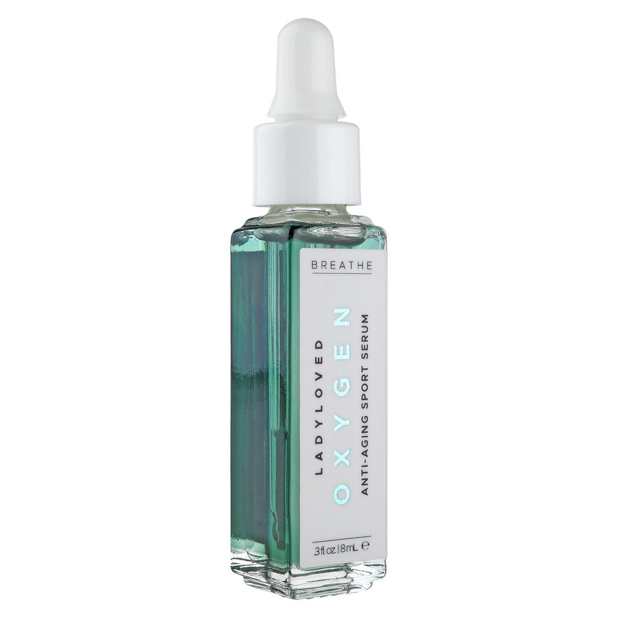 An image of an 8 mL dropper bottle of Oxygen Anti-Aging Exercise Serum sitting upright on a white background.