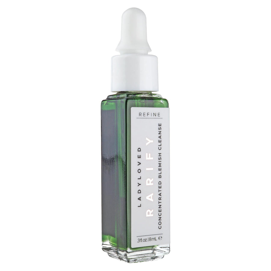 An image of an 8 mL dropper bottle of Rarify Refining Acne Spot Treatment sitting upright on a white background.
