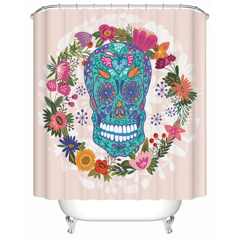Colorful shower curtain - Colorful Sugarskull Shower Curtain