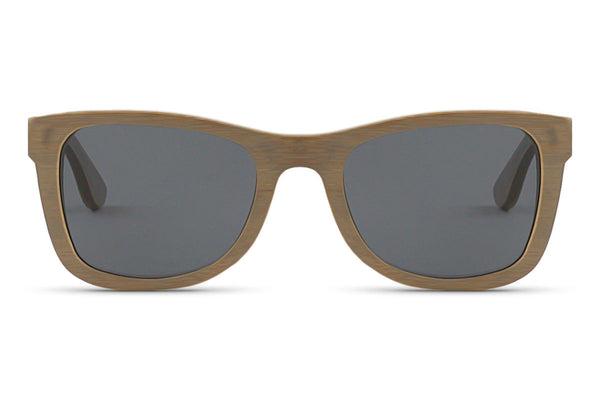 Front of glasses view. A lighter grey pops against any skin tone while still displaying the unique wood grain. edlee sunglasses are always made from the highest quality products including our sustainable and eco-friendly bamboo. Our wooden sunglasses are designed to be lightweight and comfortable with polarized lenses to ensure the best possible vision.