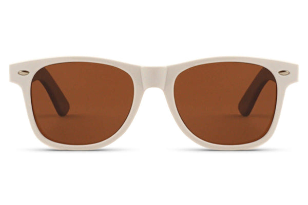 Front of glasses view. For every yin, there is a yang. The contrast between our white frames, wood grain temples, and gradient lenses makes these glasses the perfect summer accent. edlee sunglasses are always made from the highest quality products including sustainable and eco-friendly bamboo. Our wooden sunglasses are designed to be lightweight and comfortable with polarized lenses to ensure the best possible vision.