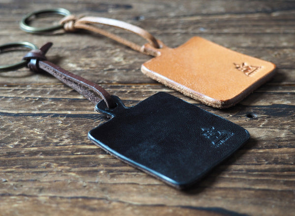 ES Corner Handmade Leather Kitchen Cutting Board idea Keychain Black Natural Nude Color