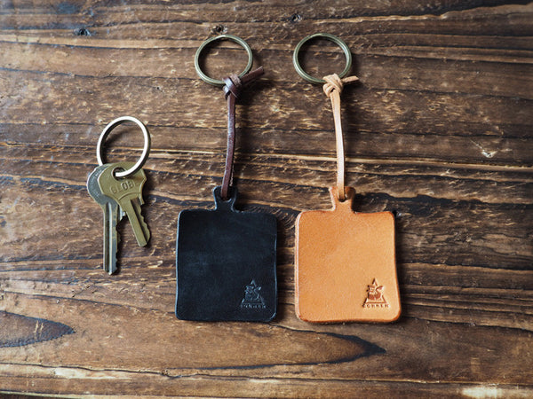 ES Corner Leather Accessories Cutting Board Keychain Black Nude Key Ring
