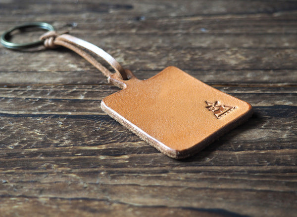 ES Corner Handmade Leather Cutting Board Keychain Natural Nude Square Shape