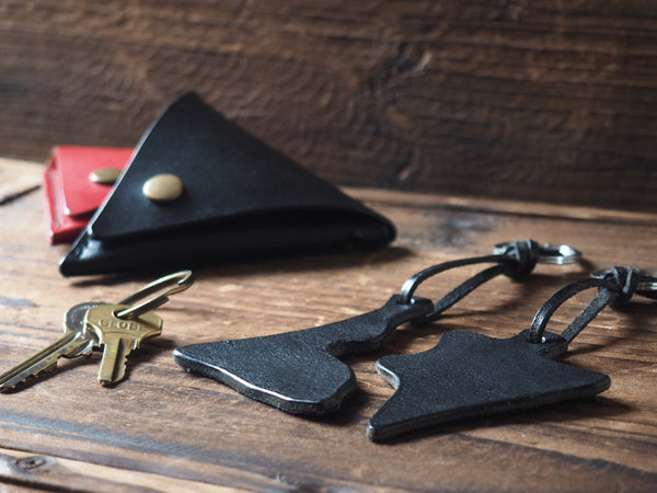 ES Corner Leather Keychain set Black Natural Nude color options and Triangle Coin Pouch in Red Black