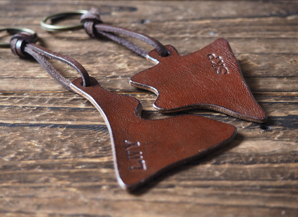 ES Corner Handmade Personalized Leather Couple Keychain Set with Initial Monogram Brown