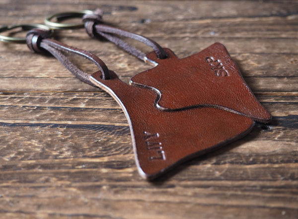 ES Corner Handmade Personalized Couple Keychain Female and Male Custom Initial Brown Key ring