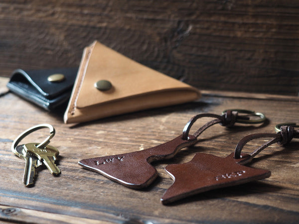 ES Corner Handmade Leather Couple Keychain with Triangle Coin Purse Everyday carry item Brown black Nude