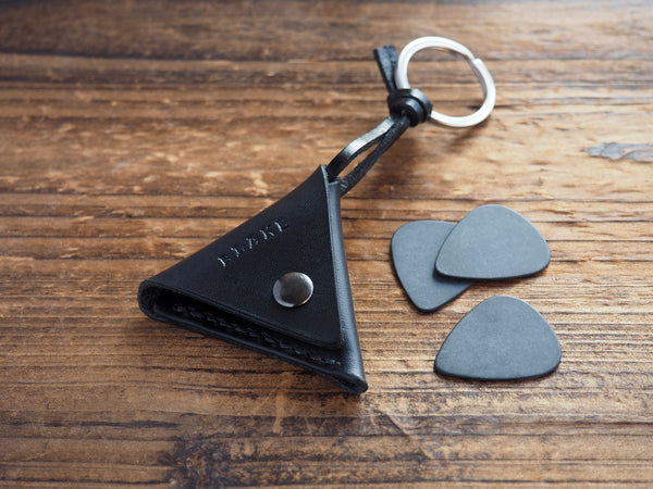 Personalized Leather Folded Guitar Pick Case Keychain #Black