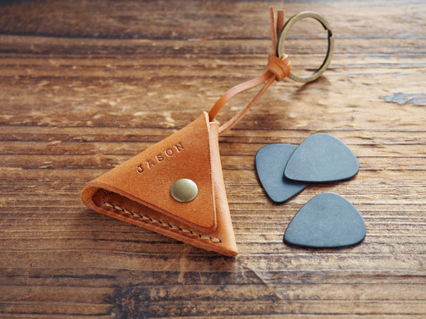 Personalized Leather Folded Guitar Pick Case Keychain #Brown