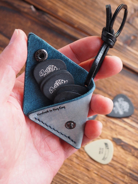 Personalized Leather Folded Guitar Pick Case Keychain #Coated Wax Blue