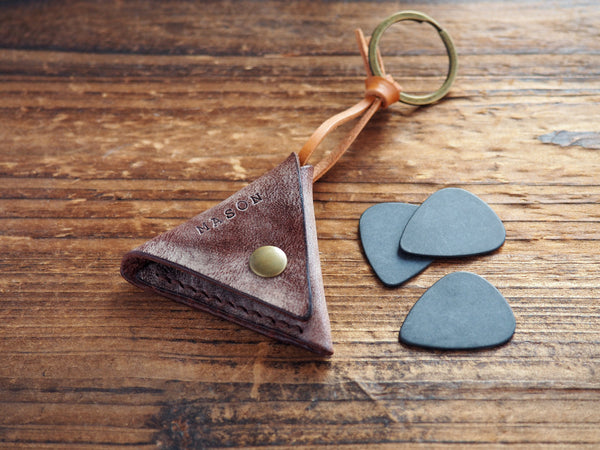 Personalized Leather Folded Guitar Pick Case Keychain #Coated Wax Brown