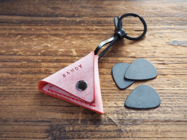 Personalized Leather Folded Guitar Pick Case Keychain #Coated Wax Red