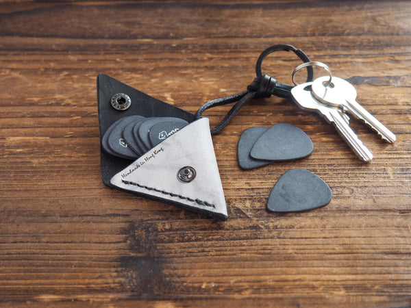 Personalized Leather Folded Guitar Pick Case Keychain #Coated Wax Black