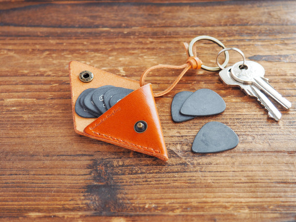 Personalized Leather Folded Guitar Pick Case Keychain #Honey Brown
