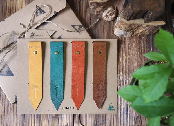 Natural Forest Handmade Leather Bookmark Holiday Gift Set | ES Corner