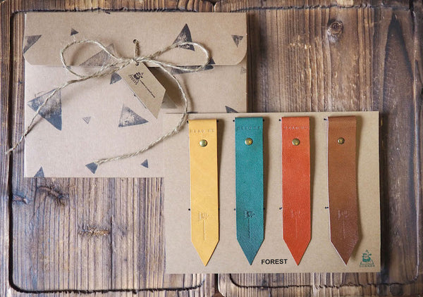 Natural Forest Handmade Leather Bookmark Holiday Gift Set Gift for Reader| ES Corner