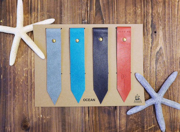 Natural Ocean Handmade Leather Bookmarks Sea Holiday Gift Set idea | ES Corner