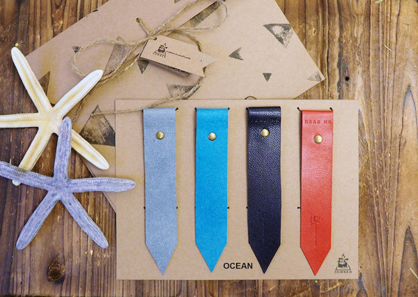 Natural Ocean Handmade Leather Bookmark Holiday Gift Set | ES Corner