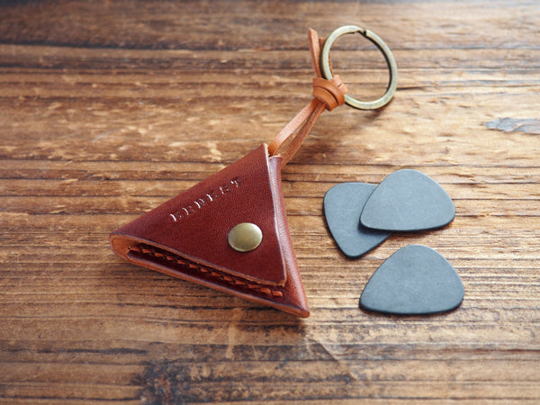 Personalized Leather Folded Guitar Pick Case Keychain #Whiskey Brown