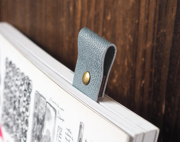 ES Corner Handmade Leather Bookmark Blue Grey with metal stud