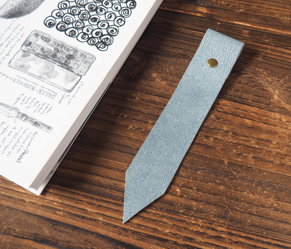 ES Corner Handmade Leather Bookmarks with Read Me Bookmark Blue Grey