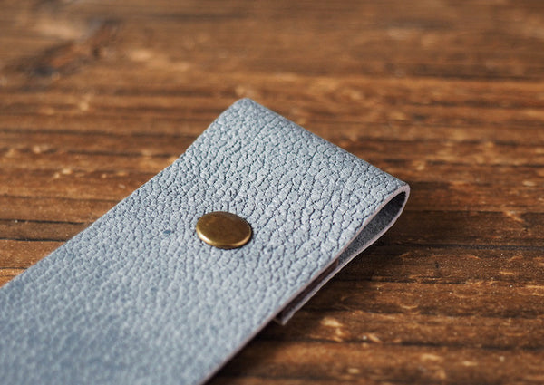 ES Corner Handmade Leather Bookmarks Blue Grey Engraved with READ ME