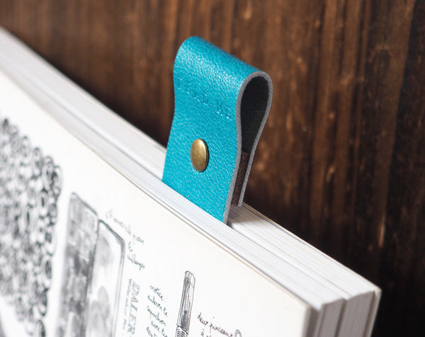 ES Corner Handmad Leather Bookmarks Sky Blue with quality Goat Skin Leather from Japan