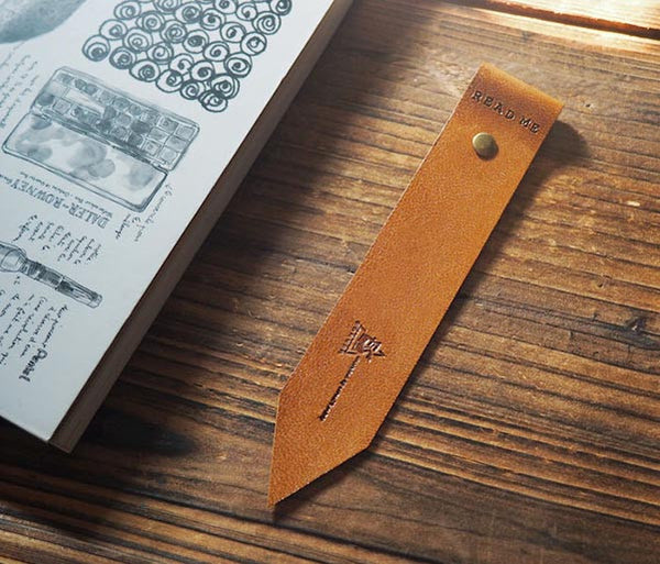 ES Corner Handmade Leather Bookmarks with Read Me Bookmark Brown Main Shot